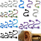 "Stainless Steel Twister ""S"" Eyebrow Ear Lip Belly Ear Stud Body piercing 5 Color"