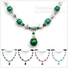 XL537 Turquoise Gemstone Rhombus Tibetan Silver One Bead Drop Necklace