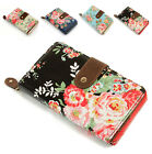 Ladies Women Vintage Oil Cloth Flower Folded Zip Wallet Purse Handbag Clutch Bag