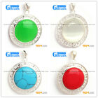 NEW colorful 23mm coin beads silver pendant 35x45mm FREE box +necklace chain