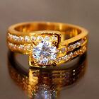 6S898 Sparkly Noble Jewelry 18k Yellow Gold Plated Rhinestone Women Lady Ring