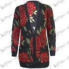 Womens Ladies Floral Knitted Front Buttons Boyfriend Grandad Cardigan Long Top