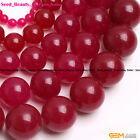 "Round Plum Jade Gemstone Jewelry Making Beads 15"" Natural Stone Dyed Color"