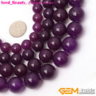 "New Beautiful Round Deep Purple Jade Gemstone JewelryMaking Bead 15"" SD6467-V"