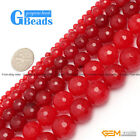 "G-Beads Round Faceted Red Jade Beads Strand 15"" Jewelry Making Beads 4-18MM"