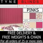 """From 99p Vertical blinds SLATS LOUVRES PINK 3.5"""" 5"""" plain / blackout / washable"""