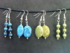 Handmade Blue or Green Drop Dangle Earrings