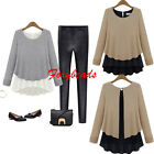 Women Korean 2-Layers Stitching Chiffon Loose Irregular Hem Shirt Tops Blouse