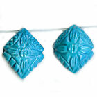 TURQUOISE Carved Floral Kite Briolettes Persian Blue 2 Gemstone Beads No Matrix