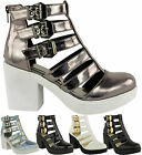 Ladies Block Heel Womens Buckle Strappy Cut Out Gladiator Ankle Boots Shoes Size