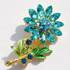 Sunflower Brooch Pin Jewellery Gift 53x30mm gold plated Crystal Faux CZ W24101