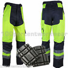 Delta Plus MHPAN Mens Work High Hi Viz Vis Cargo Trousers Pants + FREE Knee Pads