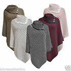 NEW LADIES WOMENS CHUNKY BUTTON WRAP KNITTED PONCHO SHAWL JUMPER PLUS SIZE 8-14