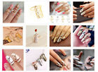 Retro Punk Nail Cute Rose Flower Heart Snake Rhinestones Shape Fashion Ring New