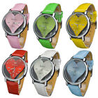 Colourful Heart Watch Face Design Leatheroid Quartz Movement Wristwatch Watches