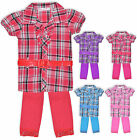 Girls Check Shirt Top Dress And Legging Set Kids Outfit New Age 2 - 12 Years
