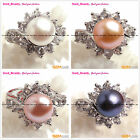 Fashion jewelry ring freshwater pearl white gold plated with rhinestone,SDft box