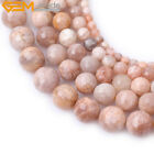 """Round faceted sunstone gemstone jewelry making beads stra 15"""" 4/6/8/10/12mm pick"""