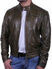 UK Vintage Men's All Leather Biker Jacket Motor Bike Bomber Jacket Slim Fit