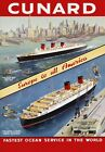 S2 Vintage Cunard Europe To America Ship Cruise Liner Travel Poster A1/A2/A3/A4