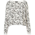 Ladies Topshop Cream Skull Print Top Studded Sweater Jersey Jumper Sweatshirt