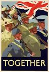 3W5 Vintage WWII British Together Allies United War Poster Print WW2 A2/A3/A4