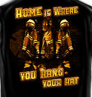 Bunker Gear Home is Where you Hang your Hat Firefighter Black T-Shirt