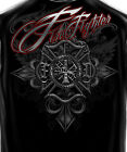Black T-Shirt with Steel Maltese Cross Firefighter Design with Foil Accents