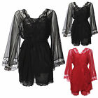 Silky Satin Lace Camisole cami French Knickers and Robe sleepwear set