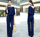Spring Womens Crew Neck Batwing Sleeve Chiffon Jumpsuit Rompers Trousers Plus Sz