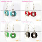 Fashion beauty 16mm coin ring beads carved tibetan silver dangle earrings 1 pair