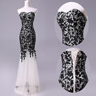 new Black Lace Prom Ball Cocktail party wedding dress Bridal Long Sexy gown