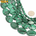 "Natural Green Malachite Gemstone Jewelry Making Beads 15"" Oval-shaped"