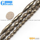 Silver Grey Pyrite Gemstone Oivary Polygonal Faceted Beads For Jewelry Making