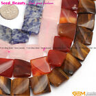"16mm twist wave square gemstone jewelry making loose beads 15"" ,10 materials"