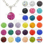 1pcs Iron Chain Czech Crystal Rhinestones 10mm Round Disco Ball Necklace Pendant
