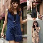 Womens Korean Style High Waist Chiffon Sleeveless V Neck Jumpsuit Romper