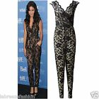 NEW WOMENS CELEBRITY VANESSA HUDGENS LACE FLORAL LADIES SLEEVELESS JUMPSUIT 8-14