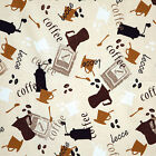 COTTON UPHOLSTERY CRAFT FABRIC COFFEE BEANS CAFE INTERIOR HOME DECOR 11 VARIES