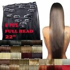 22 24'' UK Full Head Clip In Hair Extensions Red Auburn White Black Brown Blonde