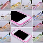 New TPU Bumper Silicone Frame Soft Case Skin with Side Button for iPhone 4 4G 4S