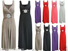 Womens Ladies Long Evening Maxi Dress Buckle Party Prom Ball Wedding S M L XL