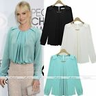 Retro Women's Vintage Round Collar Loose Metal Chiffon Pleated Shirt Blouse Top