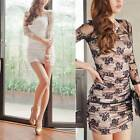 New Women Sexy Lace Long Sleeve Bodycon Dress See Through Nightclub Wear M2539
