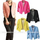 Women Candy Colors Solid Slim 3/4 Sleeves Casual Suit Blazer Coat Jacket Top