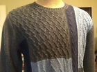 - ROUNDTREE & YORKE Charcoal & Blue Crewneck Mens Knit Sweater NWT F954 Ret 79