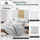 CLAREMONT HARBOUR White Quilt Cover Set by Platinum Collection - QUEEN KING CUSH