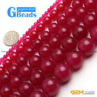 "Round Gemstone Plum Jade Beads DIY Jewelry Making Loose Beads 15""4-18mm Pick"