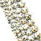 Black Spots Agate Gemstone Round Loose Spacer Beads 16'' Strand 4 6 8 10 12mm