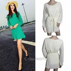 Women Chiffon Sweet Solid A-Line Long Sleeve Mini Dress With Belt